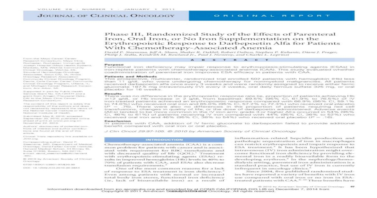 Phase III, Randomized Study of the Effects of Parenteral ...