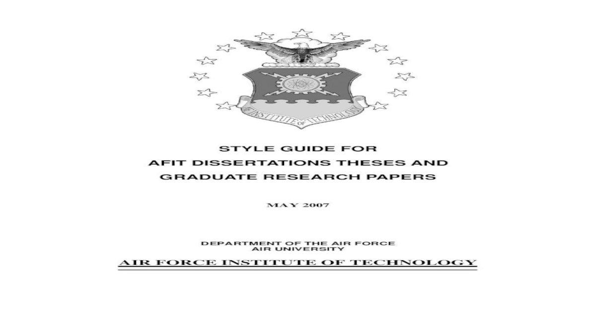 Afit dissertation papers